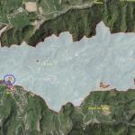EŠD 796 Vače –Prazgodovinsko gradišče z grobišči. Temno modro je označeno območje arheološke raziskave.