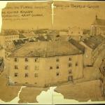 Slika 2: Pogled na Malo kasarno (vir: Topografska risba Male kasarne, lavirana risba, PMPO, inv. št. G 1023 s)